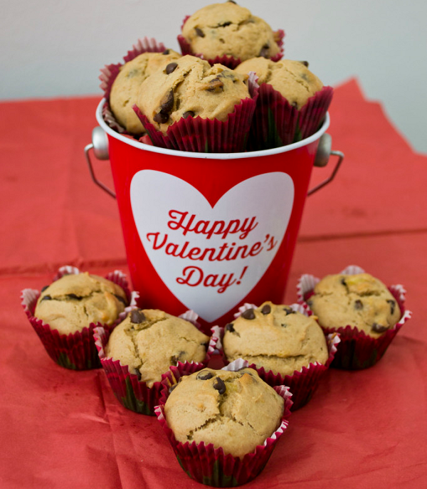 Peanut Butter Banana Chocolate Chip Muffins for Valentine's Day PNG