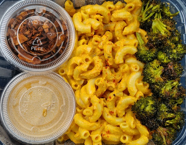 Mac Cheese With Roasted Broccoli And Coconut Bacon From Batata Cafe In Northport Ny