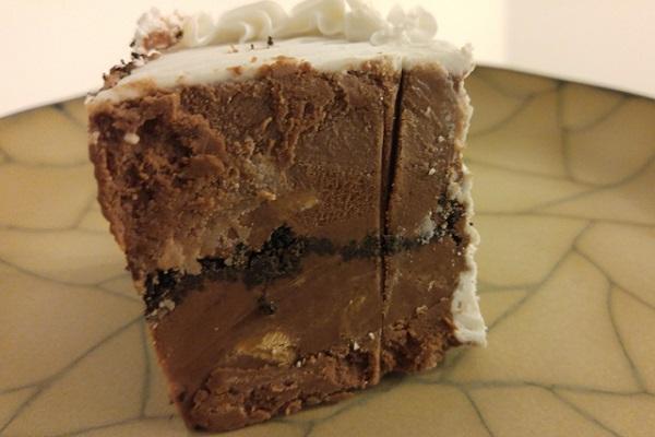 A slice of Chocolate Peanut Butter Ice Cream Cake.