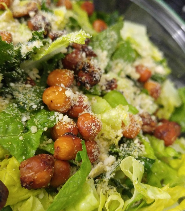 Caesar Salad with Chickpea Croutons and a Nut/Seed Parmesan Topping.